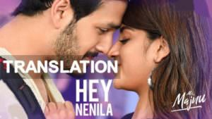 Mr. Majnu - Hey Nenila song Telugu meaning