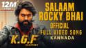 Salaam Rocky Bhai Full Video Song KGF Kannada