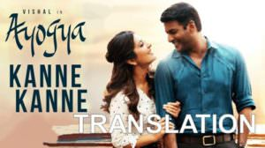 Kanne Kanne Lyrics (with English Meaning) | Ayogya | Anirudh Ravichander