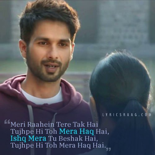 Tera Ban Jaunga hindi lyrics kabir singh