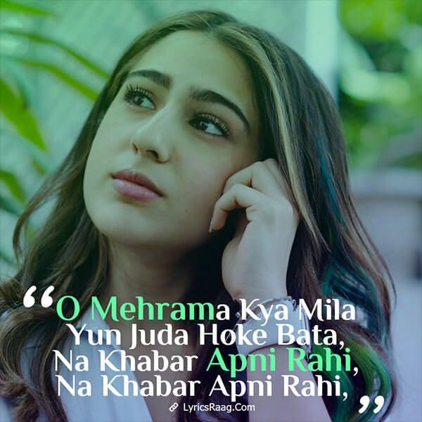 o mehrama sara karthik lyrics english love aaj kal